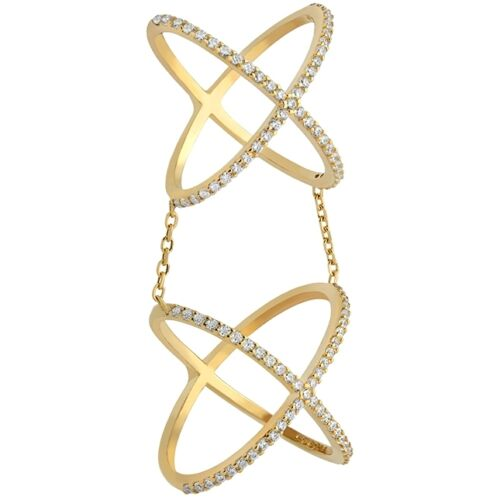 Pave Open Double CrossOver Chain CZ Yellow Sterling Silver Knuckle Ring-Band