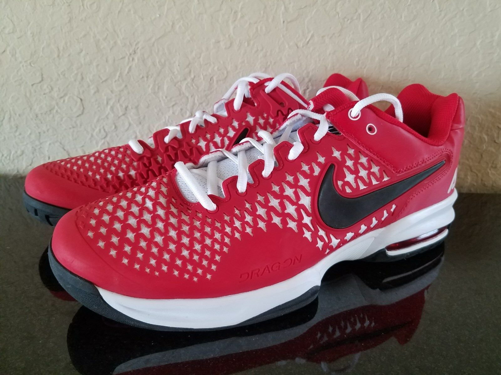 Nike Men's Air Max CageTennis Shoes Red -White best-selling model of the brand