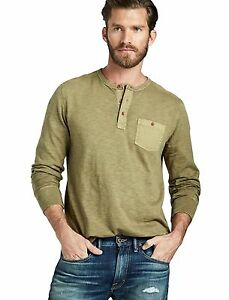 Lucky-Brand-Men-039-s-XXL-NWT-59-Olive-Green-100-Cotton-Henley-Pocket-Shirt
