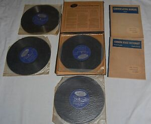 Vintage-Living-French-A-Complete-Language-Course-40-Lessons-On-LP-4-Records-50s
