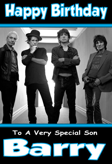 The Rolling Stones Personalised Birthday Card Large A5 Size Any Name
