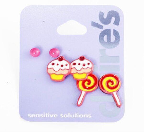 E449 Claire's Carousel Childhood Memory Lollipop Cupcake Earrings Set US
