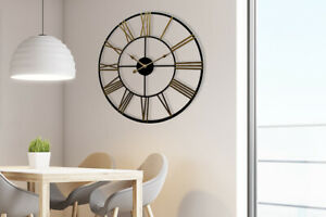 Rustic-Industrial-Slim-Black-and-Gold-Iron-Wall-Clock-73cm-Home-Decoration-Decal