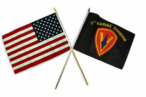 12x18 30.5cmx45.7cm En Gros Combo Américain Usa & 5th Usmc Marine Division Bâton
