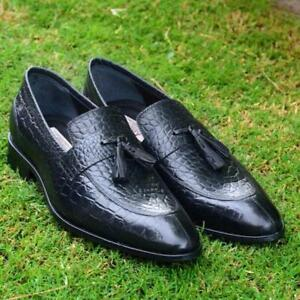 Handmade-Loafers-Tassel-Crocodile-Print-Calf-leather-Fashion-Party-Formal-Shoes
