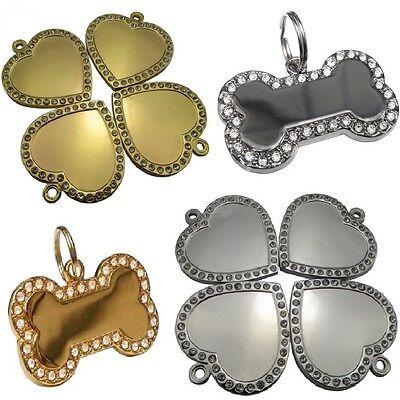 Diamontee Bling Bone/Heart Shape Engraved Pet Tags Dog/Cat Name Identity ID Disc