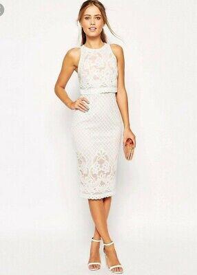 Asos White Pink Pencil Midi Lace Dress Size 6 Wedding Races Smart Ebay