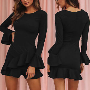 Womens-Bell-Long-Sleeve-Bodycon-Flared-Frill-Mini-Dress-Party-Evening-Cocktail