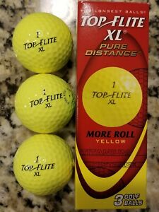 Top Flite Pure Distance 3-Golf Balls More Roll Yellow ...