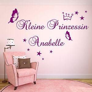 Wandtattoo Aa145 Kinderzimmer Personalisiert Kleine Prinzessin Namen Madchen Ebay