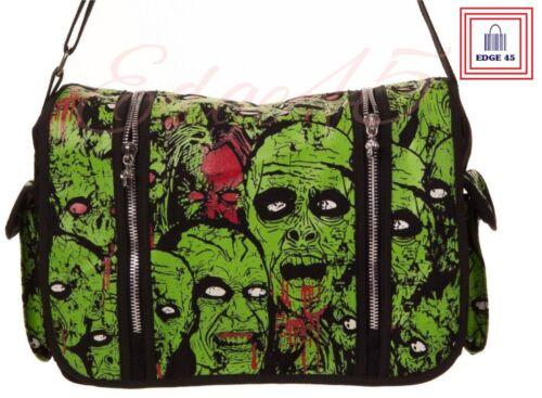 Banned Apparel Green Zombie Glow In The Dark Crossbody Satchel Adjustable Strap