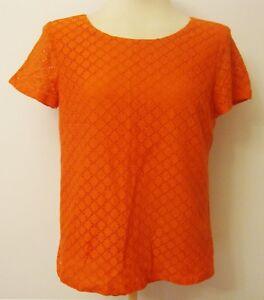 Coldwater-Creek-Orange-Short-Sleeve-Cotton-Knit-Top-Blouse-Shirt-Size-M-10-12
