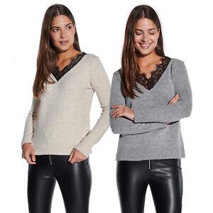 Vestino-Damen-V-Ausschnitt-Pullover-mit-Spitzeneinsatz-Figurumspielend-Spitze