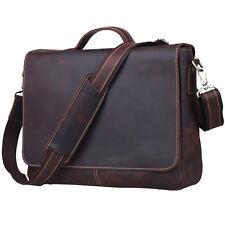 862523683534 item 2 TIDING Vintage Leather Men Briefcase Shoulder Bag 15