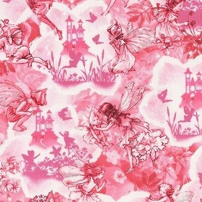 Michael Miller Dreamland Flower Fairies DM6799 Pink Tonal Cotton Fab