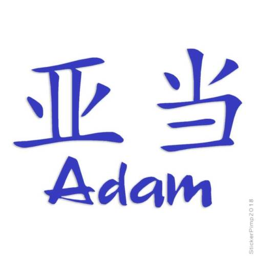 Chinese Symbol Adam Name Decal Sticker Choose Color Size #2142