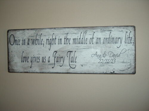 Personalised Wedding Sign Fairy tale  Shabby Vintage Chic PLAQUE SIGN