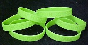 Lime-Green-Awareness-Bracelets-Lot-of-6-Silicone-Cancer-Wristbands-IMPERFECT