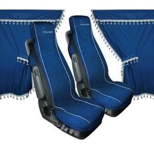SET CURTAINS CABIN E SEAT COVERS IN MICROFIBER BLUE FOR TRUCK DAF | eBay