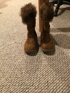 Girls-Brown-Faux-Suede-Boots-Size-4