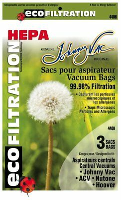 Johnny Vac 440H HEPA central vacuum bags 6-pk Replaces Nutone 391 /& Hoover