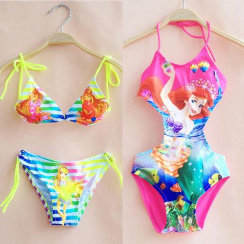Baby Kids Girls Mermaid Cartoon Bikini Swimming Beachwear Suit Swimsuit Costumes