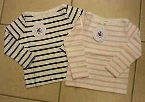 Sweat-shirt-geringelt-marine-o-rosa-de-Petit-Bateau-nuevo
