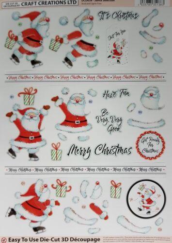 3D A4 DieCut Paper Tole Decoupage Christmas Santa Snowman Poinsettia NoCutting
