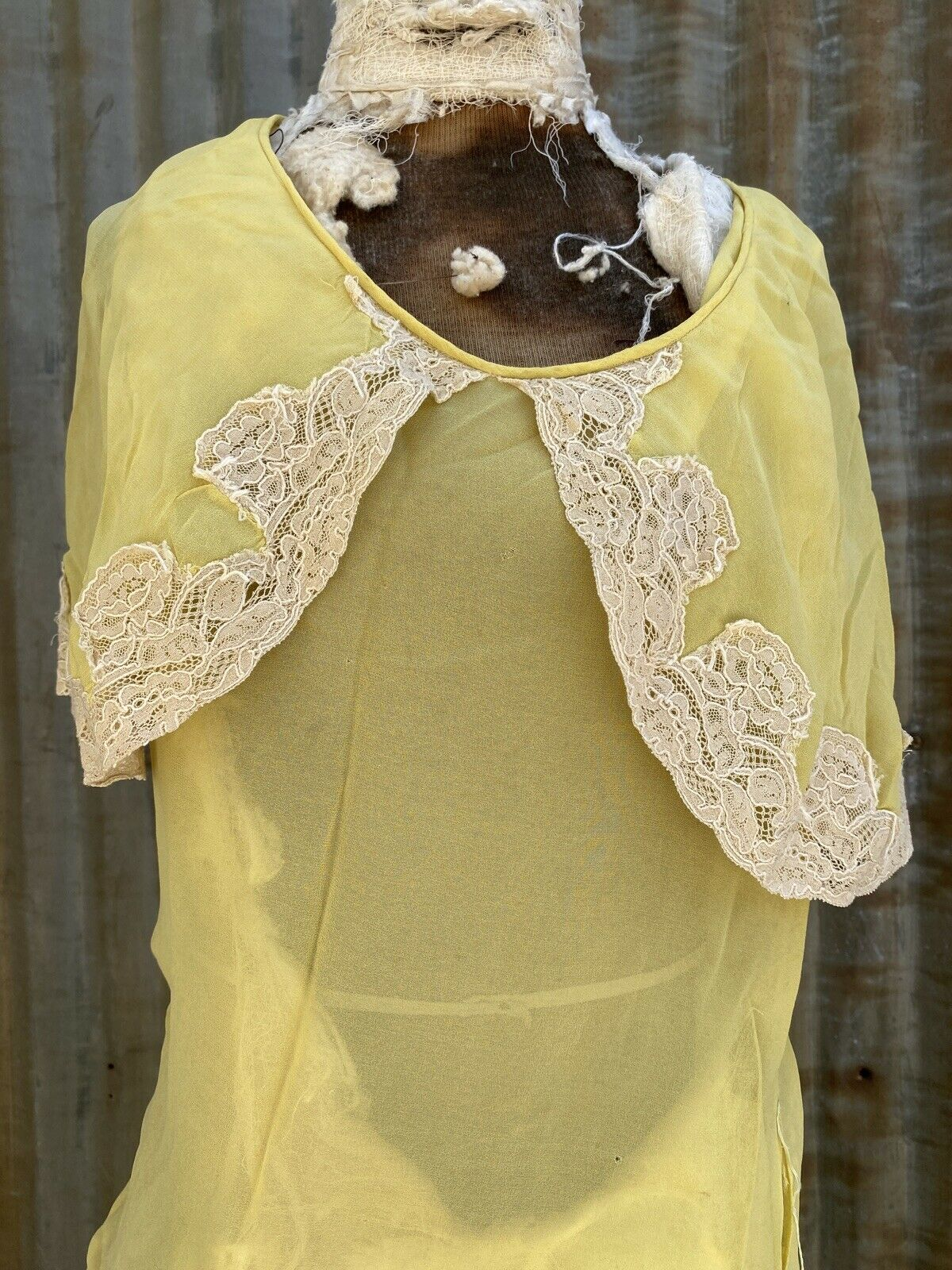 Antique 1920s 1930s Yellow Silk Chiffon Midi Dres… - image 4