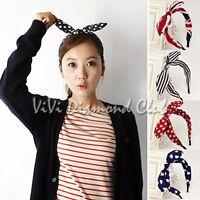 Fashion Korean Style Rabbit Bunny Ears Ribbon Scarf Hair Tie Wrap Bow Headband M