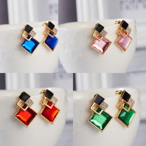 New Fashion Ear Stud Geometric Crystal Jewelry Gold Plated Earrings 1 Pair Women