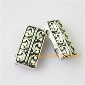 8Pcs Antiqued Silver Tone 2-2Holes Spacer Beads Bars Charms Connectors 7.5x14mm