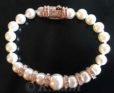Imitation Pearl 18K Rose Gold Plate Austrian Crystal Bracelet Hidden-Safety Lock