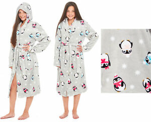 8bdf3947f Image is loading Penguin-Dressing-Gown-Girls-Childrens-Fleece -Hooded-Flannel-