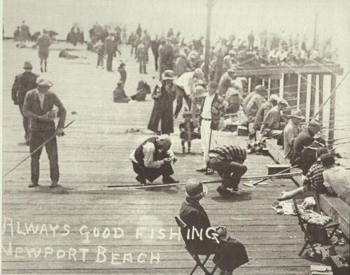 "NEWPORT BEACH /""Always Good Fishing/"" Pier VINTAGE Photo Print 1476 11/"" x 14/"""