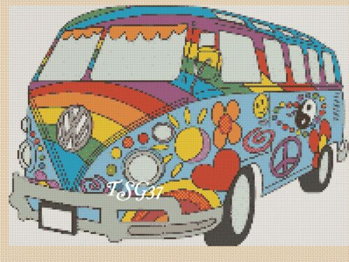 Volkswagen TSG37.. UK Gratuit p/&p... Cross Stitch Chart-VW Campervan 357 No.2a