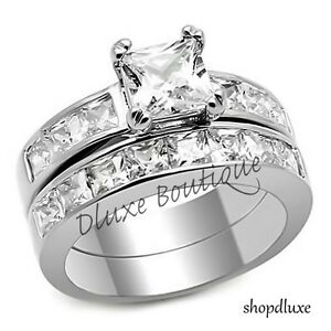 3-75-Ct-Princess-Cut-AAA-CZ-Stainless-Steel-Wedding-Ring-Set-Women-039-s-Size-5-10