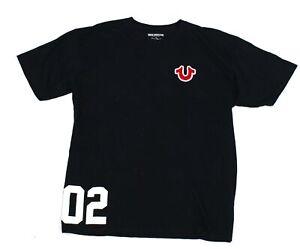 True-Religion-Mens-T-Shirt-Black-Size-XL-Flocked-Logo-Sport-Tee-Crewneck-45-918