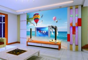3D Ballon-Delphin Strand 864 Tapete Wandgemälde Tapete Tapeten Bild Familie DE