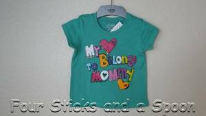 b37c4213 New The Children's Place My Heart Belongs To Mommy Green Shirt 12 M ...