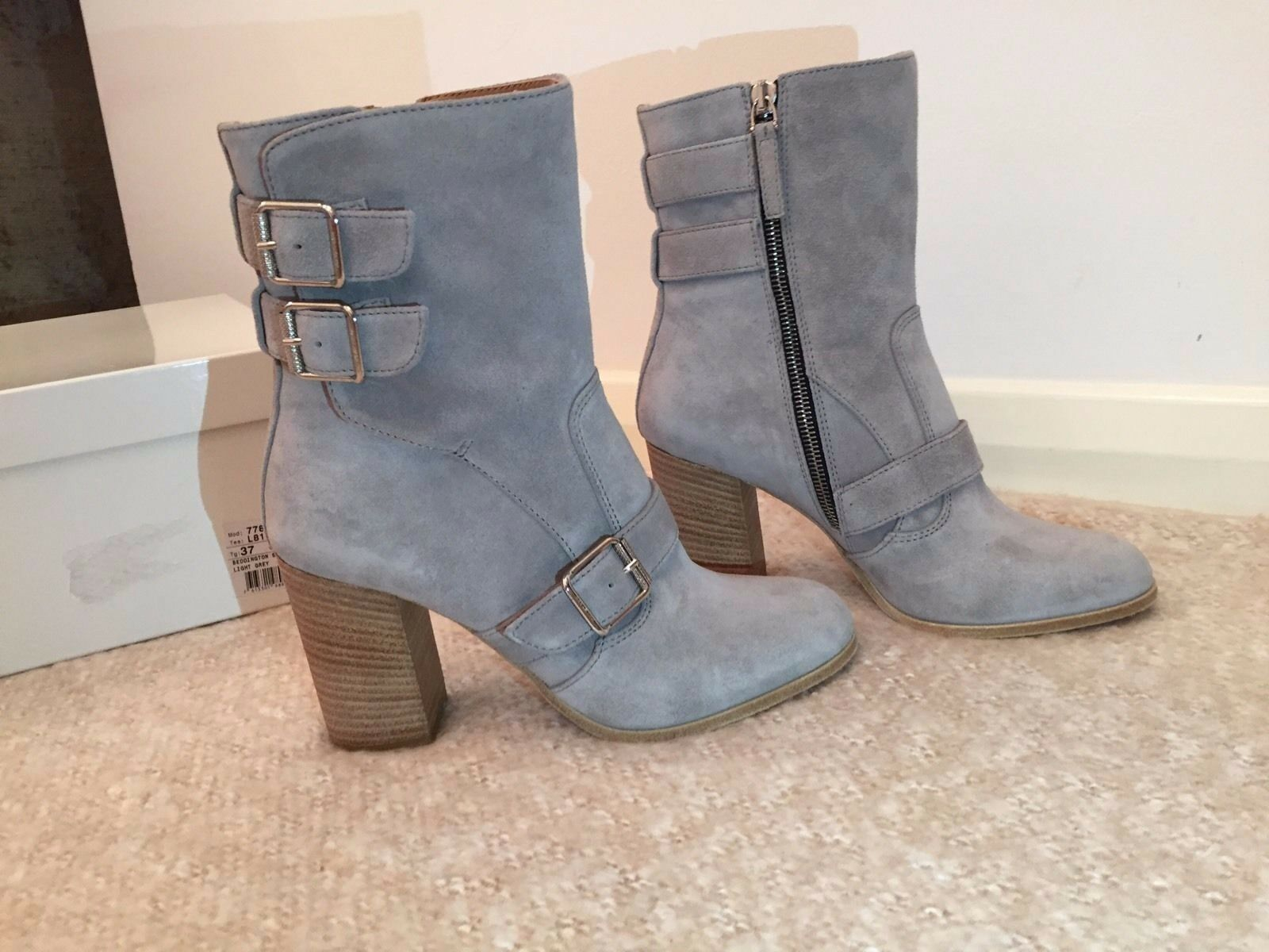 Belstaff damen Bedlington High Heel Suede grau Stiefel Größe 37 UK 4 BNWB