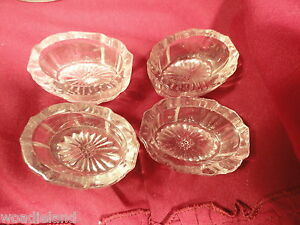 Four Oval Glass Salt Cellers Vintage AS IS