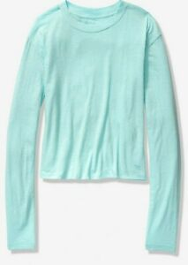 NWT-PINK-VS-VICTORIA-039-S-SECRET-LONGSLEEVE-CROPPED-TEE-BRIGHT-BLUE-LARGE-FREE-SHIP