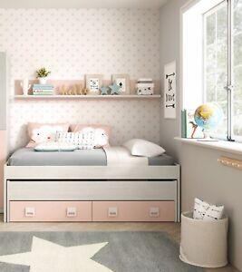Cama-nido-2-cajones-y-estante-color-blanco-y-rosa-conjunto-dormitorio-juvenil