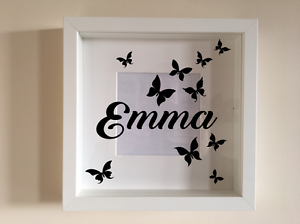 ikea ribba box frame personalised vinyl wall art quote name and butterflies ebay. Black Bedroom Furniture Sets. Home Design Ideas