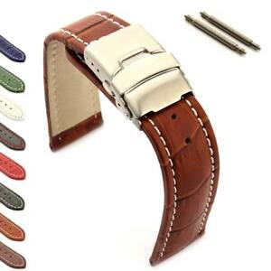 Men-039-s-Genuine-Leather-Watch-Strap-Band-Deployment-Clasp-18-20-22-24-26-Croco-MM