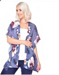 GRACE 3//4 Kimono Sleeve Kaftan Cover Up Purple Floral Print NWT RRP£45 Size 16