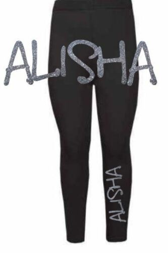 Personalised girls glitter print leggings any name baby toddler dance class gym