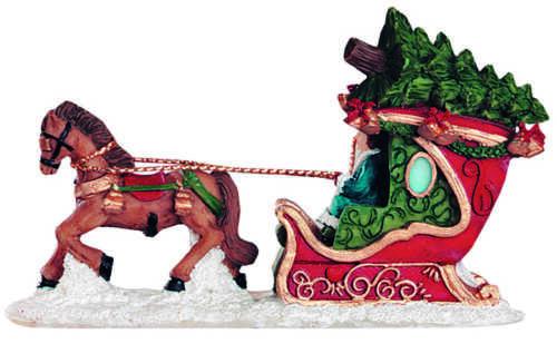 Wurm Miniature Santa Claus Sledge Person Horse-Drawn Sleigh Lichthaus G
