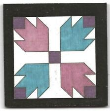 Dolhouse miniatures handcrafted wood barn quilt,decor bear claw in purple & blue
